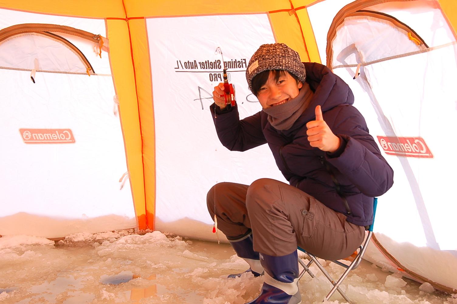 冬の人気プログラム「氷上ワカサギ釣り」がスタートしました!